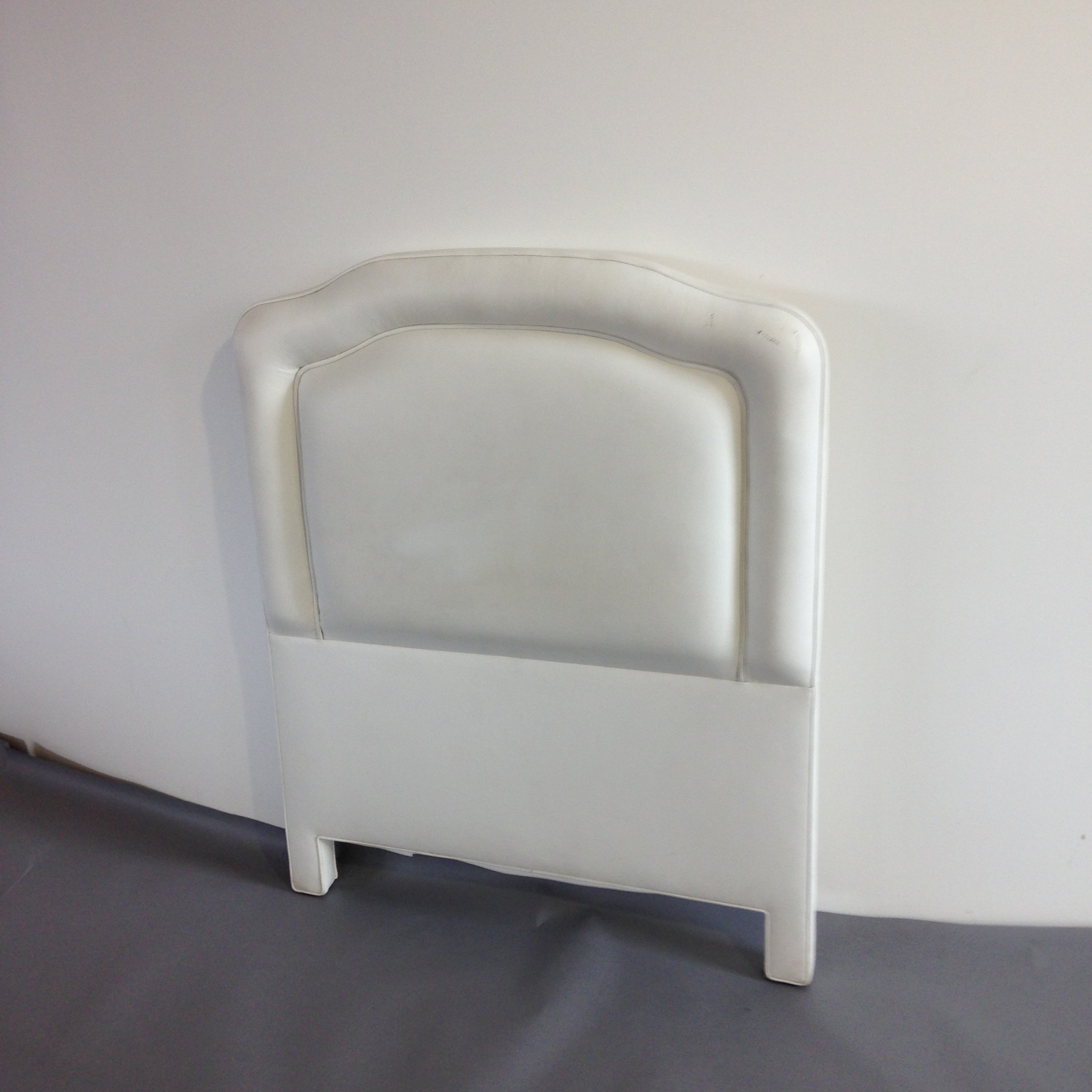 1 Twin Size White Vinyl Upholstered Headboard