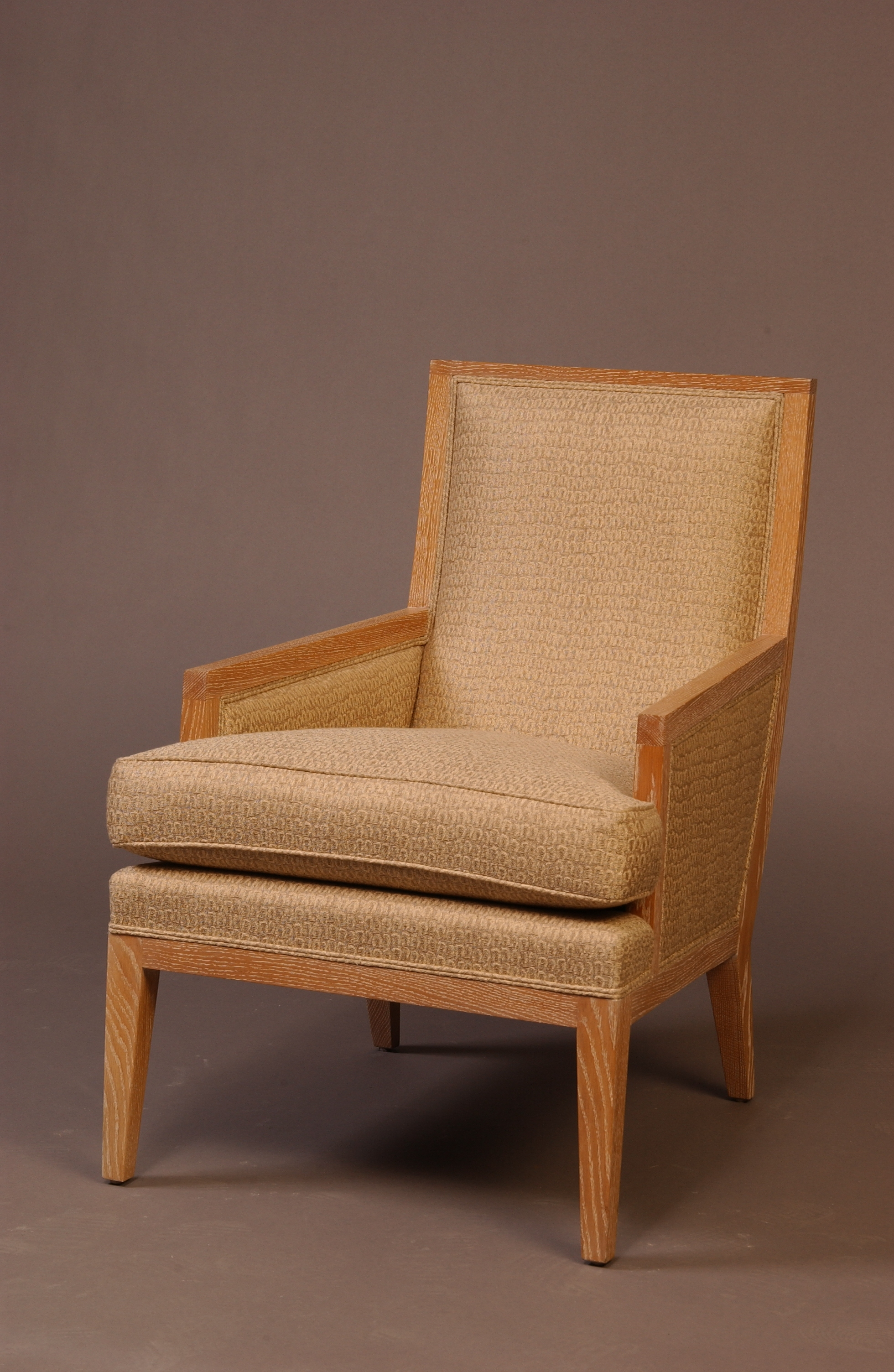 (2) Cerused oak arms chairs – Angled View